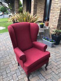 Red armchair - queen Ann style legs