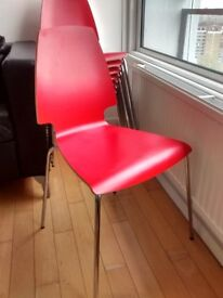 8 Red Ikea chairs as new