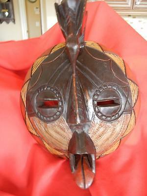 "Large Hand Carved Detail African Ghana Wall Mask 12"" x 15"" Wood with Metal Clad"