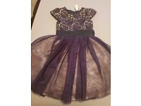 Girls navy and gold layered party dress