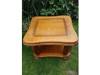 """SOLID OAK COFFEE/LAMP TABLE SIZE 27"""" X 27"""". GREAT FOR PROJECT"""