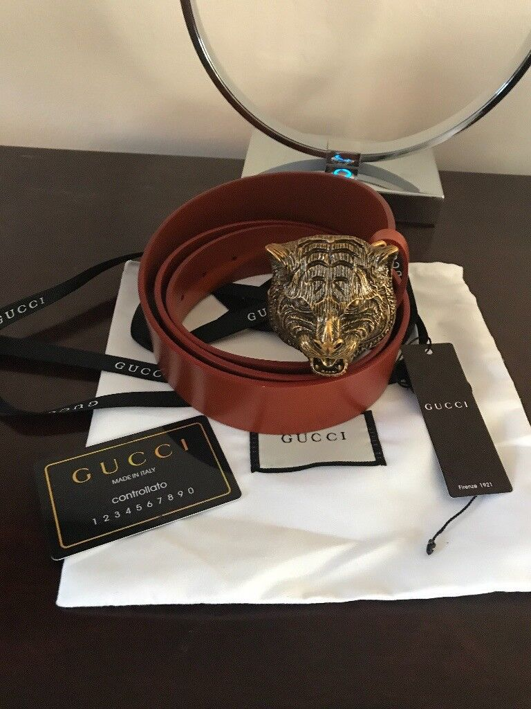 7e03085f2 Brand new authentic Brown Gucci belt with Feline Head. Made in Italy ...