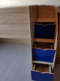 Kidspace Mid Sleeper Bed Frame with Storage Steps. Great for storing toys or furniture underneath.