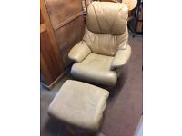 Leather Reclining Chair & Stool