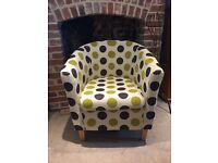 Comfortable Spotty Tub Chair, Great Condition