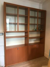 Fantastic large book shelves with wood and glass doors (double).