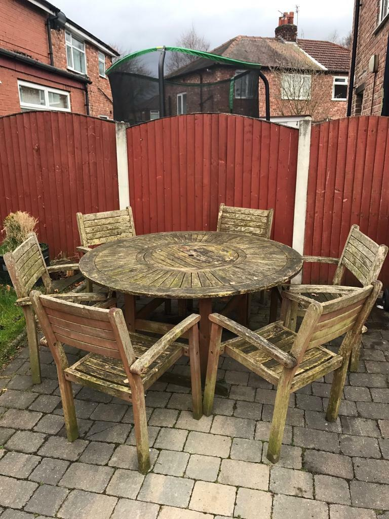 Large outdoor garden wooden table and chairs set patio ...