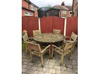 Large outdoor garden wooden table and chairs set patio