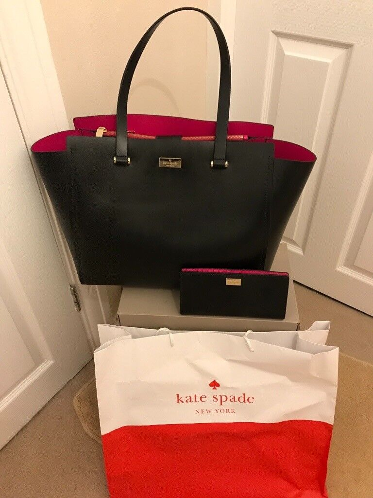 b056a9828 Kate Spade Arbour Hill Keller Black/ Sweetheart pink leather tote bag +  matching purse