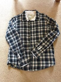 Fat Face boys checked blue shirt 12-13years long sleeves with roll up button and tie up