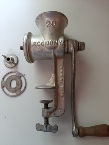 Vintage Economy #20 Hand Crank Meat Grinder Food Chopper Table Top made in USA