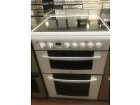 60CM WHITE INDESIT DOUBLE OVEN ELECTRIC COOKER