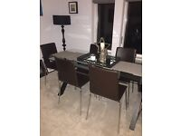 Habitat Leather Brown Dining Chairs