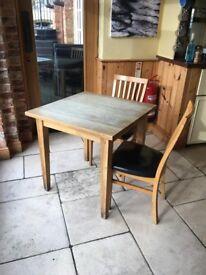 Solid light oak table