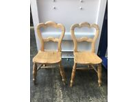 Wooden antique chairs x 2