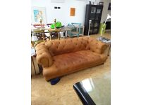 Chesterfield , John Lewis , modern brown suede leather