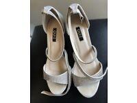 Quiz Silver Diamante Heel Sandals