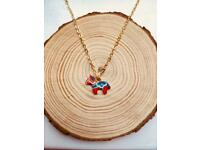 Traditional Red Swedish Dala Horse Gold Charm Necklace