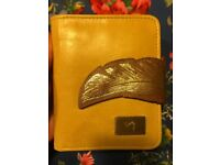 Velez yellow wallet with feather