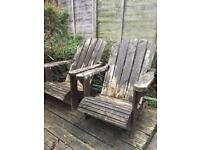 Wooden chairs / loungers