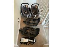 2x Maxi Cosi Pebble Pro car seats, 2x Maxi Cosi Isofix bases, 2x mirrors