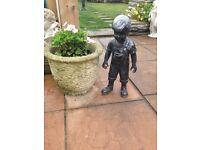 Lovely heavy bronze affect little boy