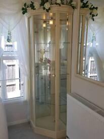 Cream corner glass display cabinet