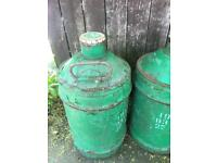 Pair of vintage small castrol oil drums 1917