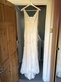 French lace designer wedding dress, Cymbeline. Size 10.