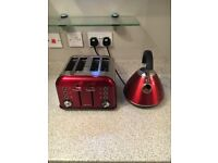 Red Pyramid Kettle + 4 Slice Toaster (Morphy Richards)