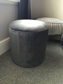 Velvet stool charcoal grey new