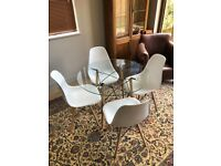 Glass Dining Table and 4 white chairs