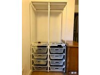Ikea white storage unit x2 hanging and drawers