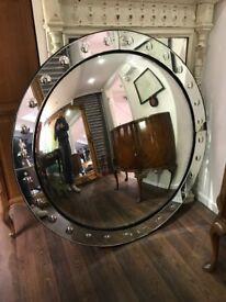 Massive convex mirror. 53 inches in diameter. 2 cracks to edge