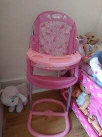Baby annabell dolls pink high chair