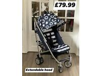 BRAND NEW ICOO PLUTO PRAM PUSHCHAIR UNISEX BUGGY BLUE WHITE STRIPES AND STARS WITH RAINCOVER 0-25 kg