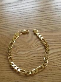Ladies or gents solid 18ct gold plated bracelet new