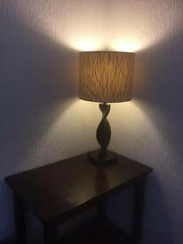 Twisted solid wood table lamp & table