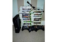 X box 360 ,with 3 joypads and a large selection of games