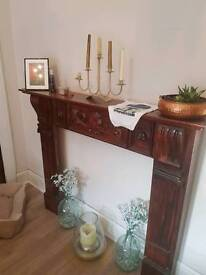 Wooden fireplace mantle
