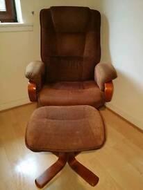 Brown retro swivel armchair