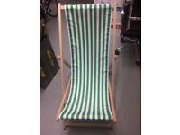 2 x Green and White Stripy Deck Chairs