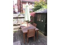 Garden table, chairs and umbrella for Sale £129 ONO