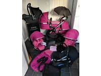 icandy peach 3 fuchsia twin tandem double pram 3in1 pushchair travel system maxi pink girls