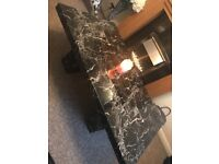 Black and marble table