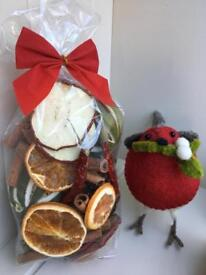 FRESHLY MADE DRIED FRUIT POT POURRI GIFT BAGS GORGEOUS CHRISTMAS SMELL WREATH TREE DECORATIONS