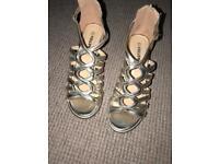 Gold Mid Heel Wedge Sandals