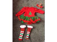 Baby girls xmas christmas outfit tutu 9-12/12-18