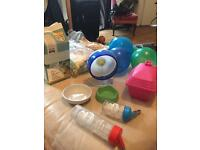 Dwarf hamster accessories. Job lot. Wheel, food, sand, bedding