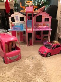 Barbie townhouse, campervan and car - to be sold altogether